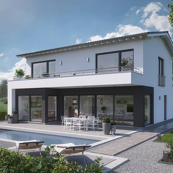 Massivhaus Kern-Haus Familienhaus Elea Gartenseite
