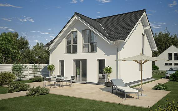 Massivhaus Kern-Haus Familienhaus Komfort Gartenseite