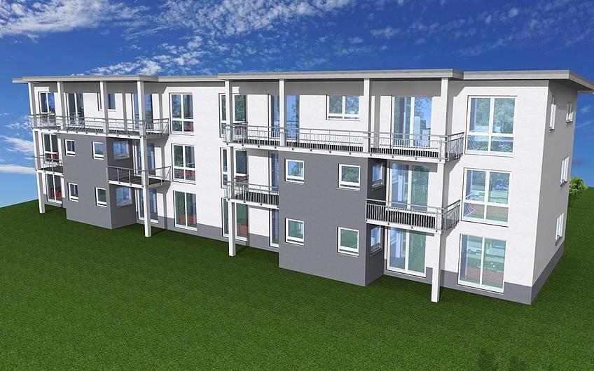 Die Ansicht der Rückseite - die Wohnungen im Erdgeschoss verfügen über eine Terrasse, die im Ober- und Dachgeschoss über einen tollen Balkon.