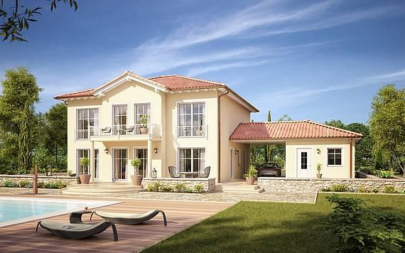 Massivhaus Kern-Haus Stadtvilla Aurelio Gartenseite