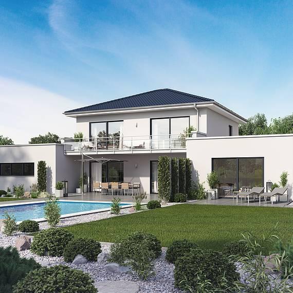 Massivhaus Kern-Haus Stadtvilla mit Einliegerwohnung Vivaro Gartenseite