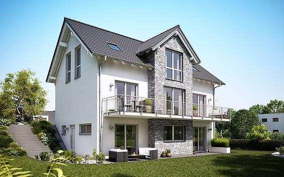 Massivhaus Kern-Haus Familienhaus Aura am Hang Gartenseite bauen am Hang