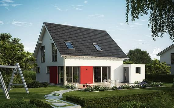 Massivhaus Kern-Haus Familienhaus Luna Plus Gartenseite