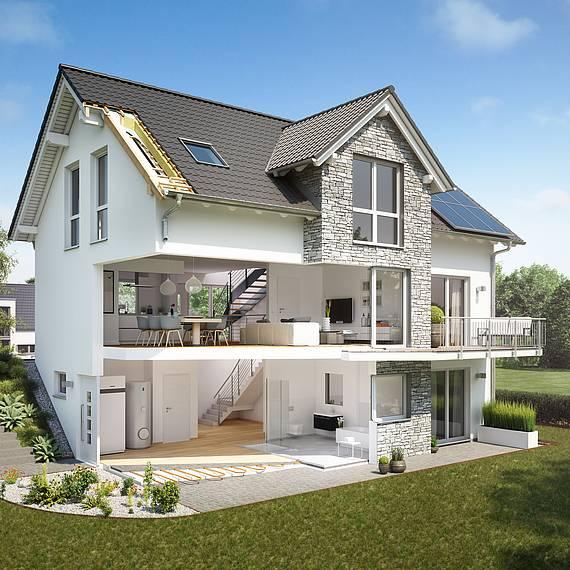 Hausschnitt Kern-Haus Familienhaus Aura mit Einliegerwohnung