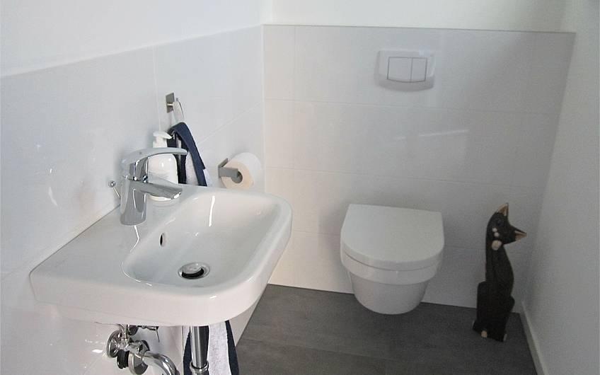 Im Gäste-WC haben die ersten Details ihren Platz gefunden.