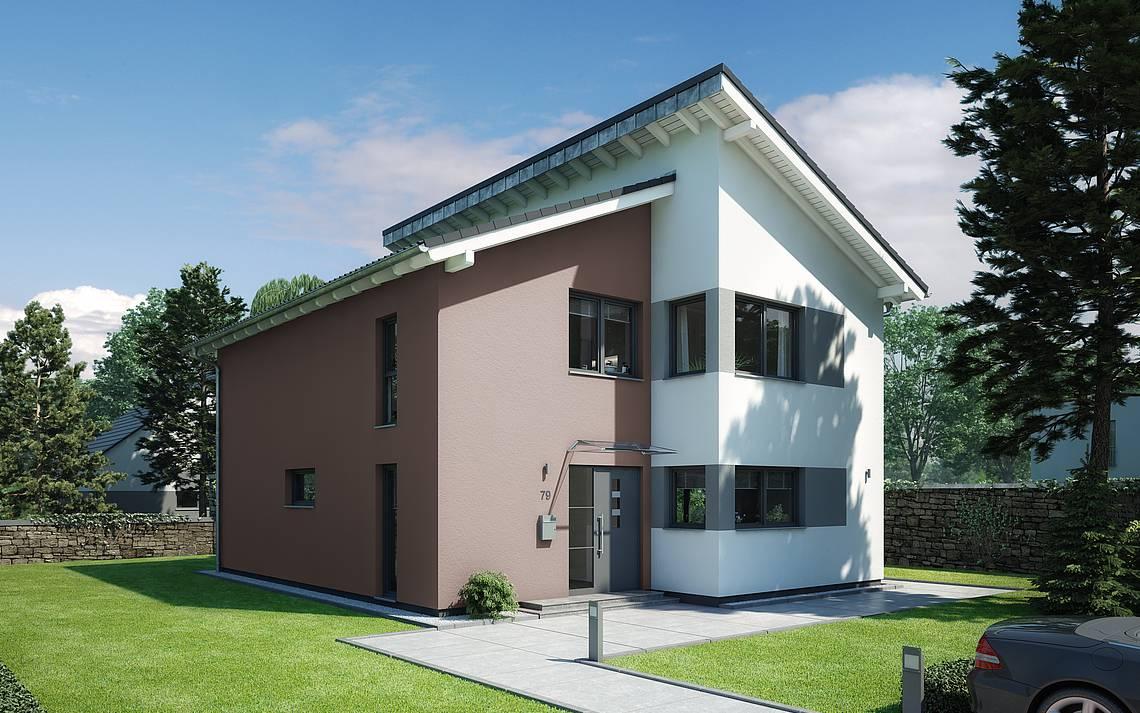 Massivhaus Kern-Haus Familienhaus Futura Pult Eingangsseite