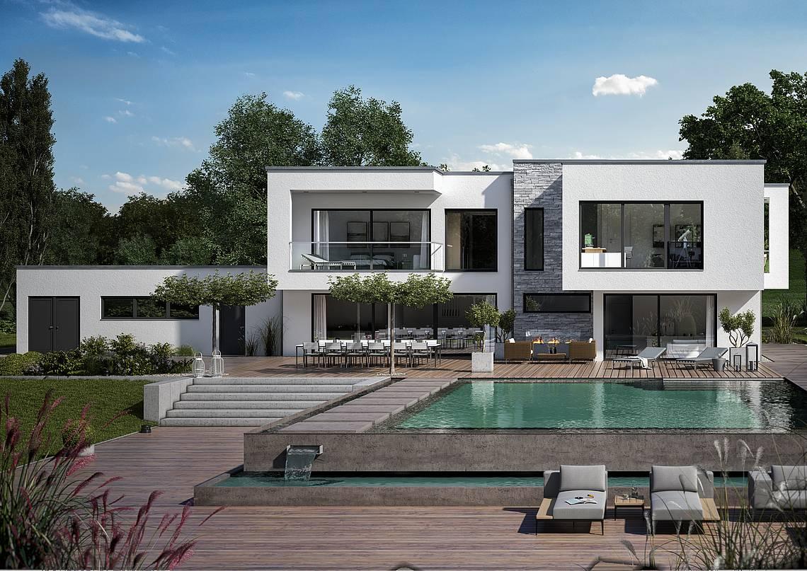 Massivhaus Kern-Haus Architektenhaus ArteA Gartenseite