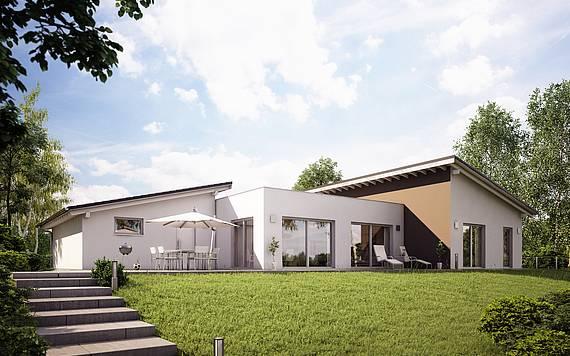 Massivhaus Kern-Haus Bungalow Trio Gartenseite