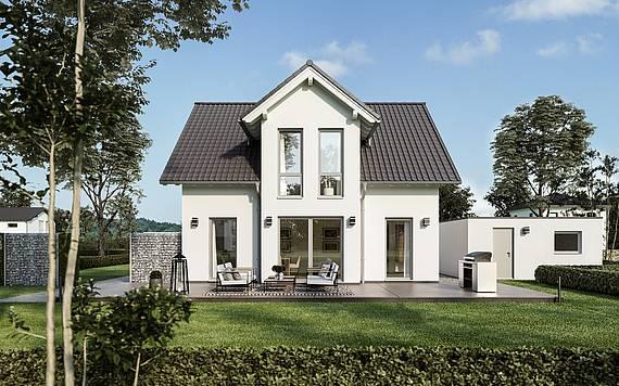 Massivhaus Kern-Haus Familienhaus Esprit Gartenseite