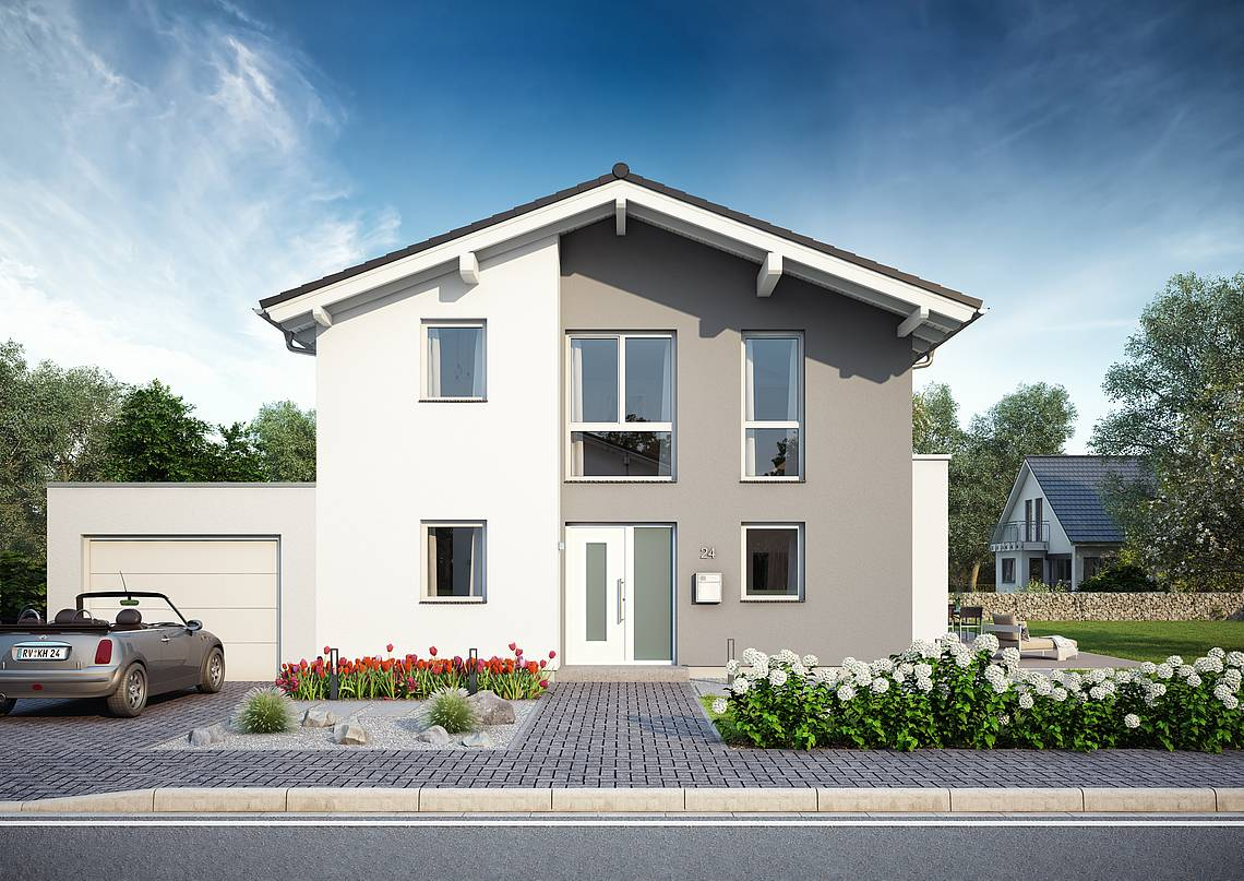 Massivhaus Kern-Haus Familienhaus Vero Eingangsseite Tagansicht