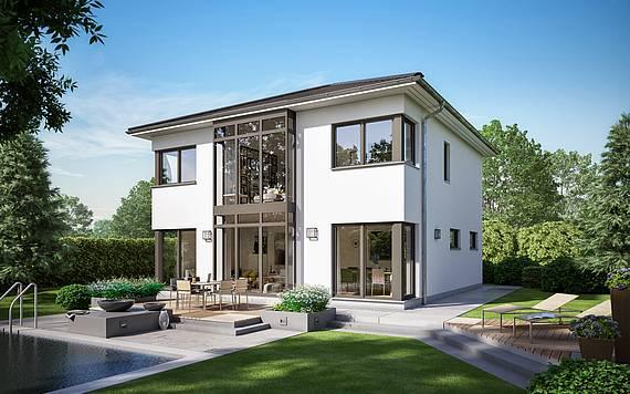 Massivhaus Kern-Haus Stadtvilla Centro W Gartenseite