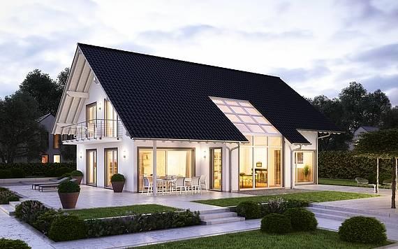 Massivhaus Kern-Haus Familienhaus Maxime Gartenansicht Abend
