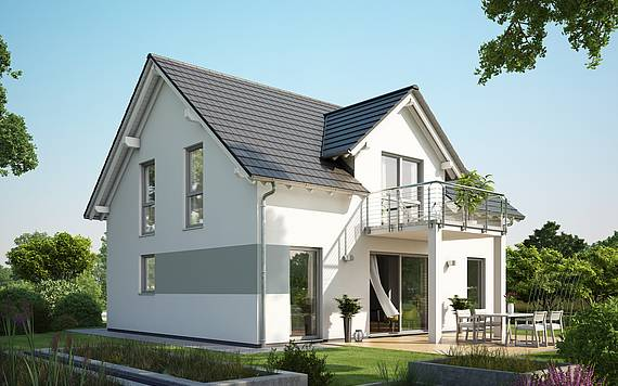 Massivhaus Kern-Haus Familienhaus Signum Plus Gartenseite