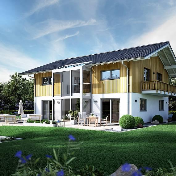 Massivhaus Kern-Haus Familienhaus Apos Gartenseite