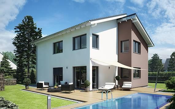 Massivhaus Kern-Haus Familienhaus Futura Pult Gartenseite