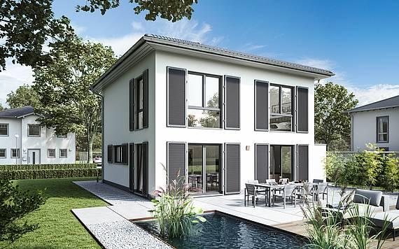 Massivhaus Kern-Haus Stadtvilla Pura Gartenseite