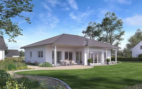 Massivhaus Kern-Haus Bungalow Kalea Gartenseite