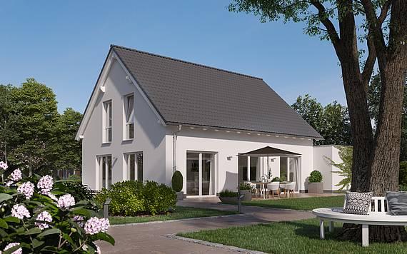 Massivhaus Kern-Haus Familienhaus Anto Gartenseite