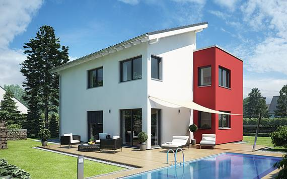 Massivhaus Kern-Haus Familienhaus Futura Gartenseite