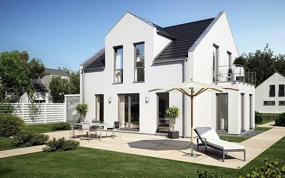 Massivhaus Kern-Haus Familienhaus Komfort Trendline Gartenseite