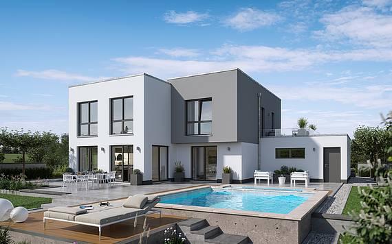Massivhaus Kern-Haus Bauhaus Cono Gartenseite