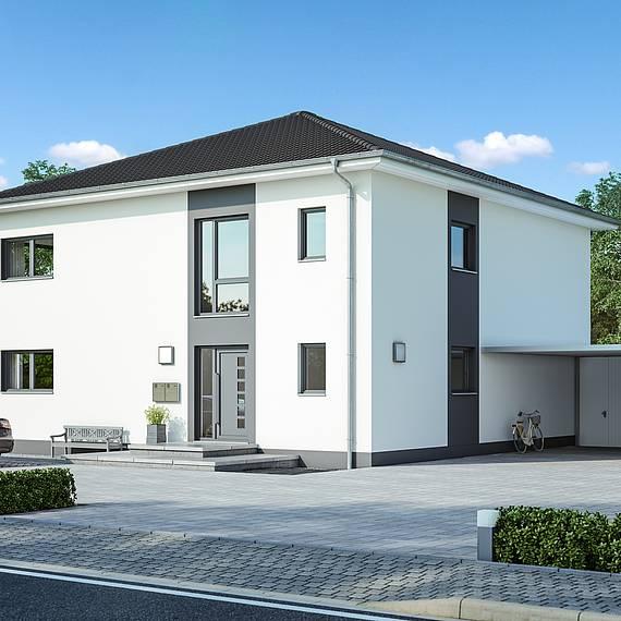 Massivhaus Kern-Haus Zweifamilienhaus Duplea Eingangsseite
