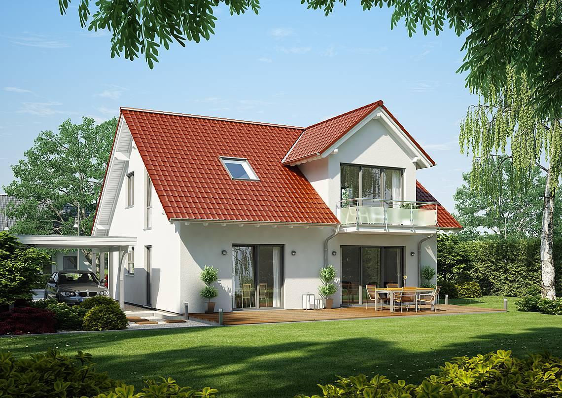Massivhaus Kern-Haus Familienhaus Magnum Gartenseite