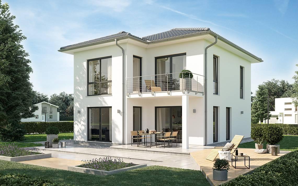 Massivhaus Kern-Haus Fino Stadtvilla Gartenseite