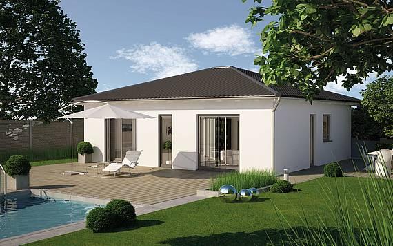 Massivhaus Kern-Haus Bungalow Easy Gartenseite