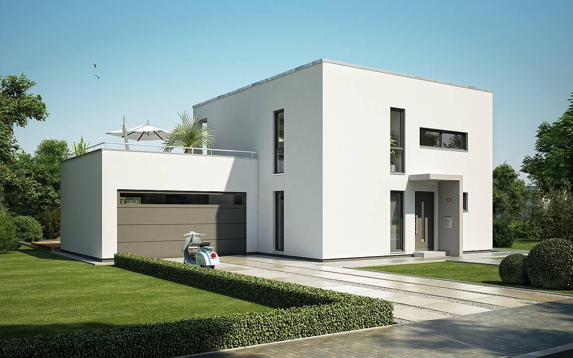 Massivhaus Kern-Haus Bauhaus Novum Eingangsseite Tagansicht