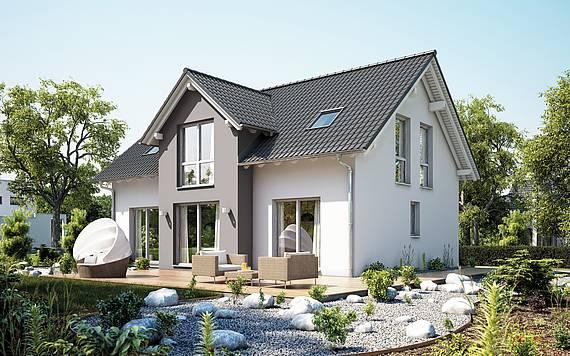 Massivhaus Kern-Haus Familienhaus Aura Gartenseite