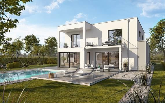 Massivhaus Kern-Haus Bauhaus Anteo Gartenseite