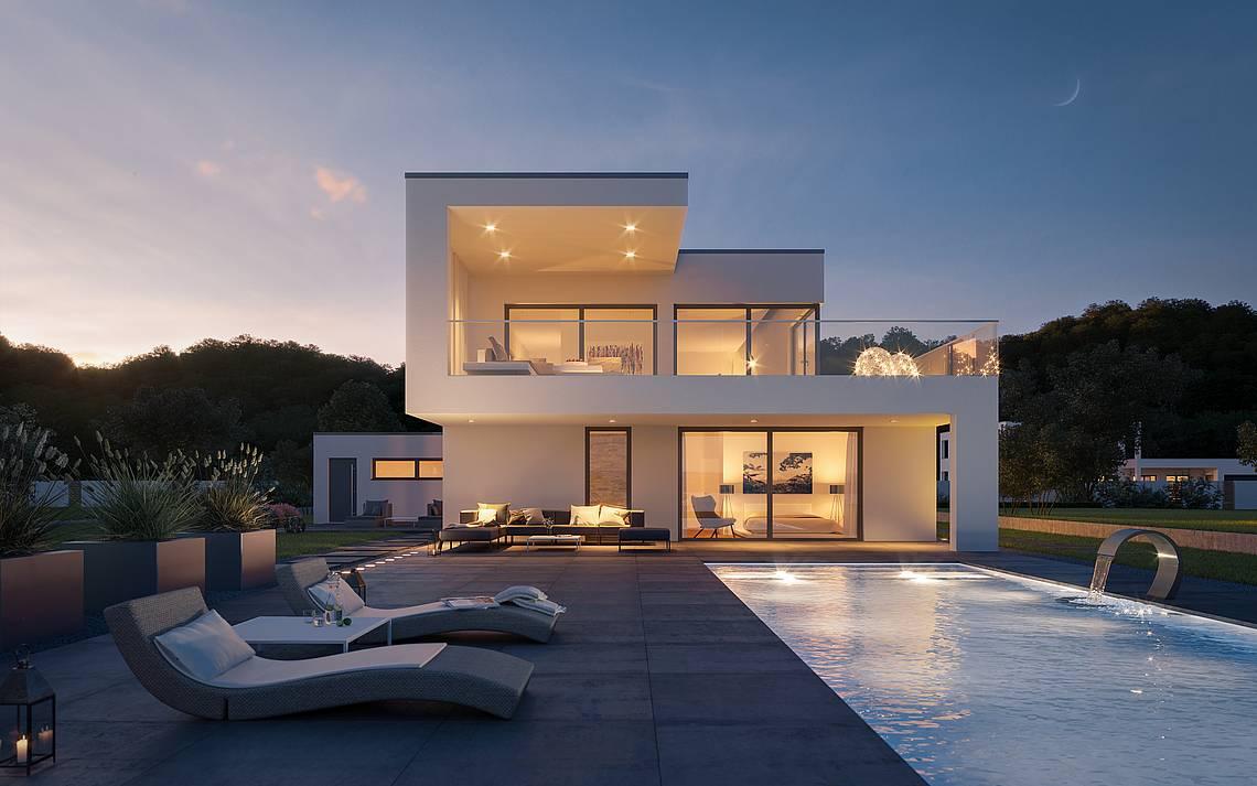 Kern-Haus Architektenhaus ArtA Garten Abend