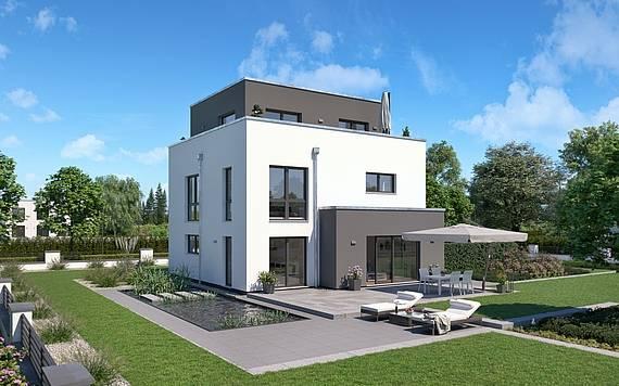 Massivhaus Kern-Haus Bauhaus Cedo Gartenseite