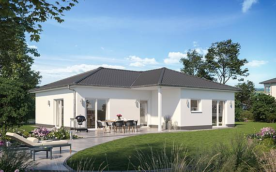 Massivhaus Kern-Haus Bungalow Enea Gartenseite