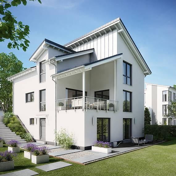 Massivhaus Kern-Haus Familienhaus Akzent am Hang Gartenseite bauen am Hang