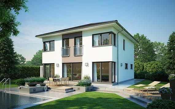 Massivhaus Kern-Haus Stadtvilla Centro Gartenseite ohne Balkon