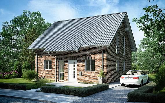 Massivhaus Kern-Haus Familienhaus Esprit Klinker Eingangsseite
