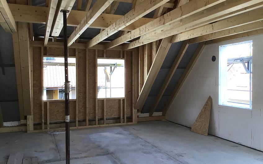 Der Dachstuhl im Obergeschoss