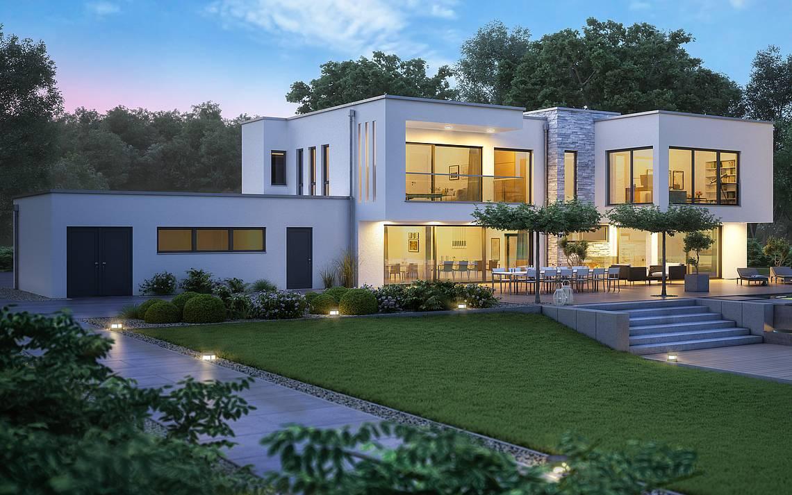 Massivhaus Kern-Haus Architektenhaus ArteA Gartenseite Nacht