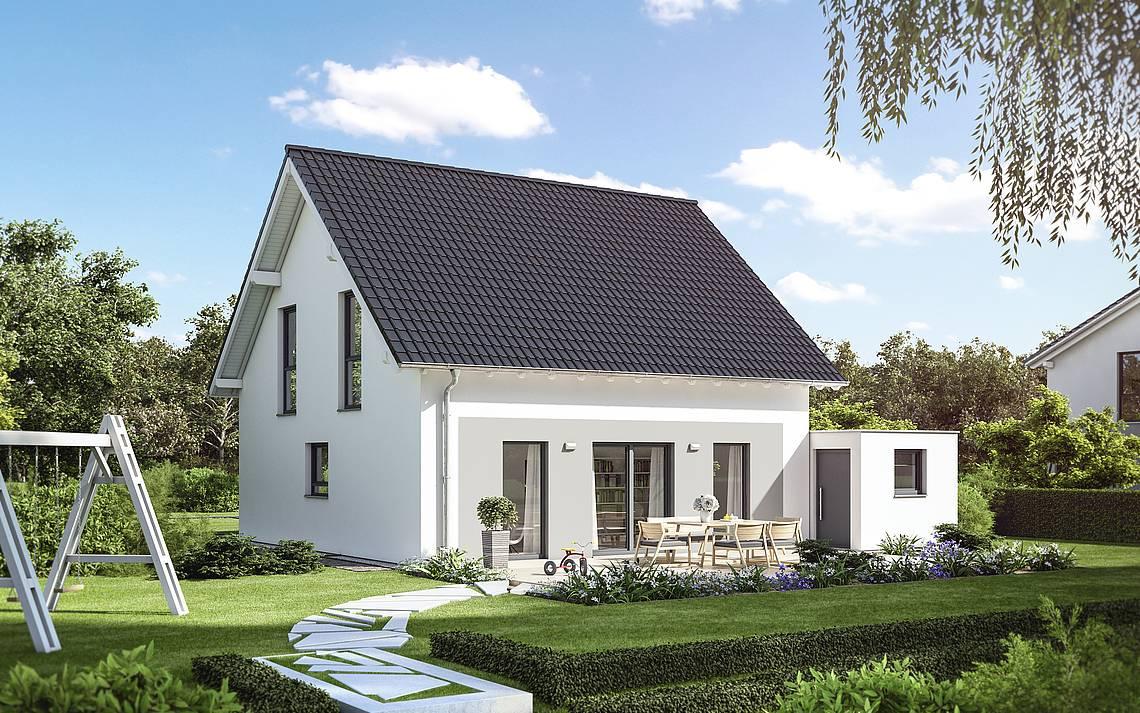 Massivhaus Kern-Haus Familienhaus Luna Gartenseite
