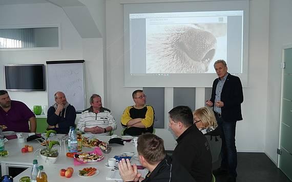 Handwerker-Frühstück bei Kern-Haus Chemnitz, Vortrag von Geschäftsführer Stephan Höhme