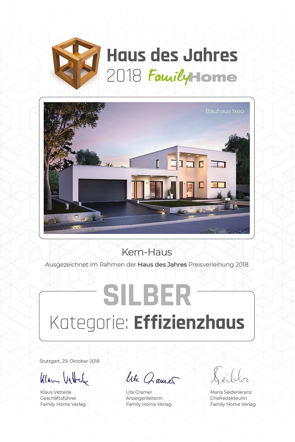 Urkunde Family Home Verlag: Haus des Jahres 2018
