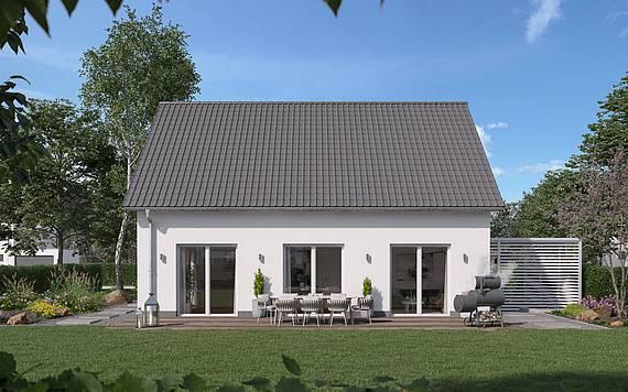 Massivhaus Kern-Haus Familienhaus Jaro Gartenseite
