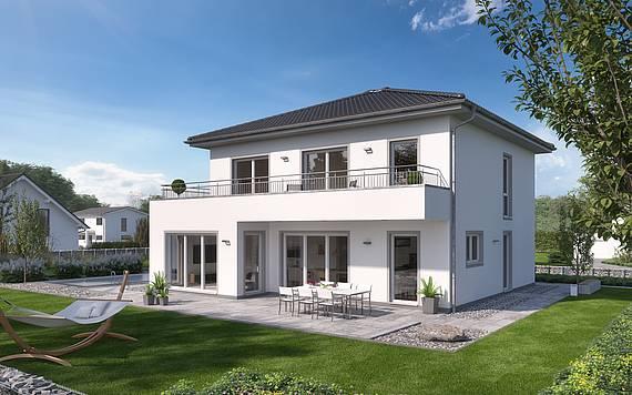 Massvihaus Kern-Haus Stadtvilla Gredo Gartenseite