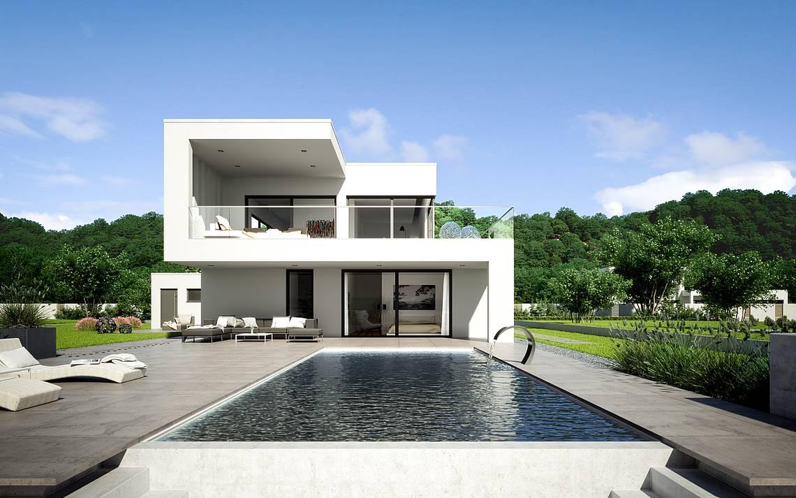 Massivhaus Kern-Haus Architektenhaus ArtA Gartenseite