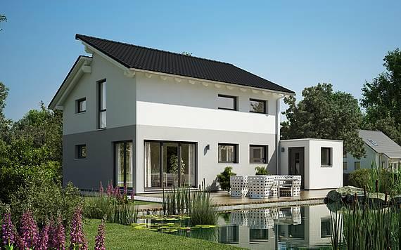 Massivhaus Kern-Haus Familienhaus Loop Pult Gartenseite
