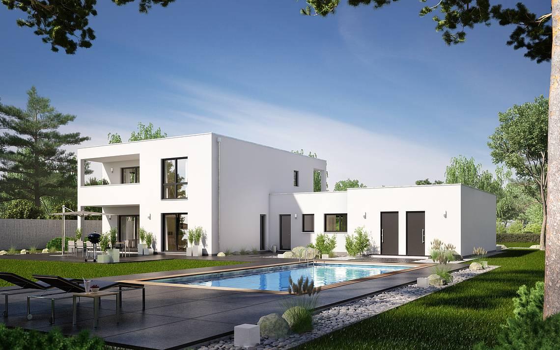 Massivhaus Kern-Haus Bauhaus Ixeo Gartenseite