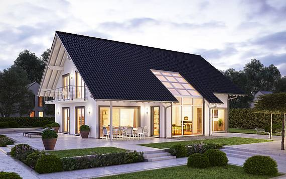 Kern-Haus Familienhaus Maxime Abendansicht