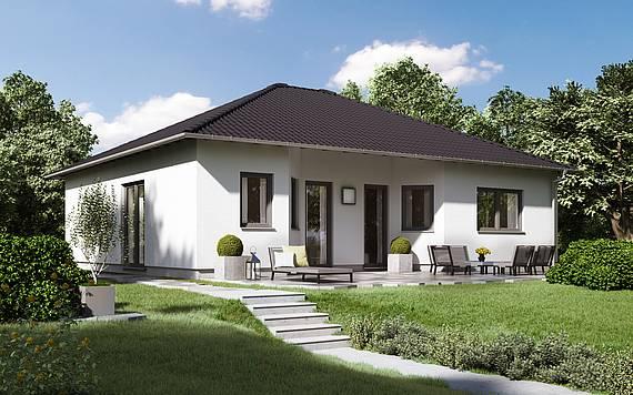 Massivhaus Kern-Haus Bungalow Flair Gartenseite